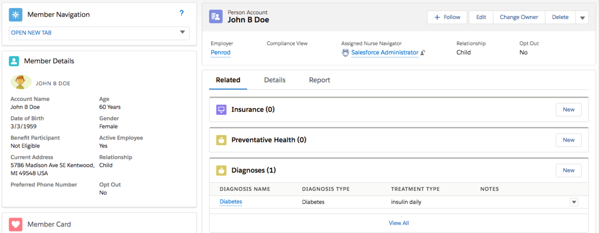 Salesforce Health Cloud Person Account Screenshot