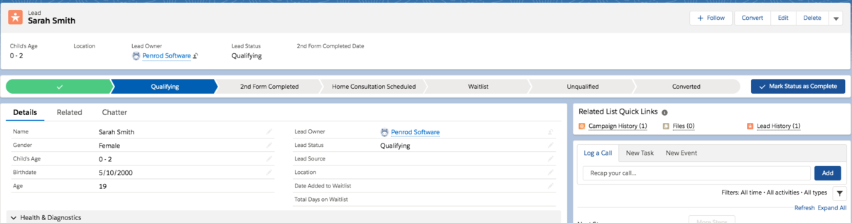 Salesforce Health Cloud Lead Screenshot
